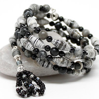 Black & White Meditation Bracelet, 108 Bead Mala with Black Network Stone & Paper Beads