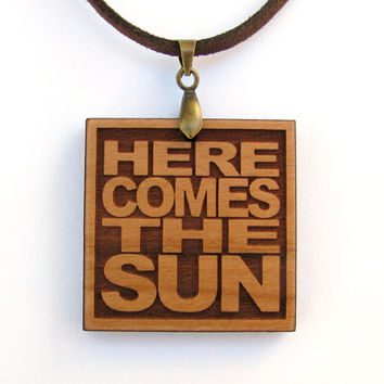 THE BEATLES Wood Lyric Necklace - Here Comes The Sun