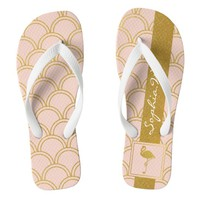 Flamingo Pink and Faux Gold Retro Pattern Modern Flip Flops