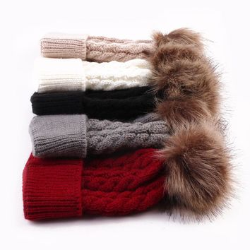 5 Color Hot Fashion Baby Toddler Girls Boys Winter Warm Knit Solid Beanie Fur Pom Hat Crochet Ski Ball Cap Beanies Xmas Gift