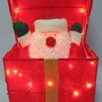 """Christmas Surprise Lighted Festive Animated Gift Box - 12"""" x 12"""" x 12"""" Square"""