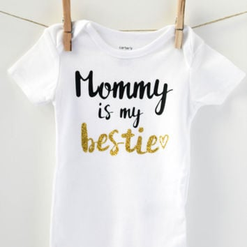baby girl clothing - mommy is my bestie - toddler clothes - baby girl clothes - baby girl outfits - besties shirt