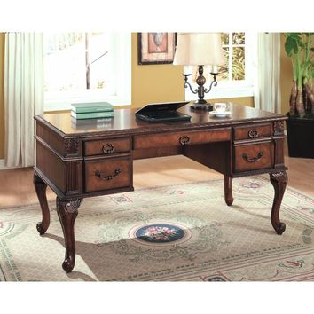 Executive Home Office Desk, Cherry Brown By Crown Mark