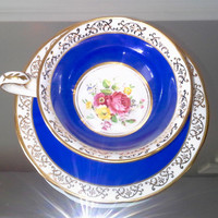 Antique Royal Stafford blue and floral tea cup and saucer, bone china English tea set, flower teacup