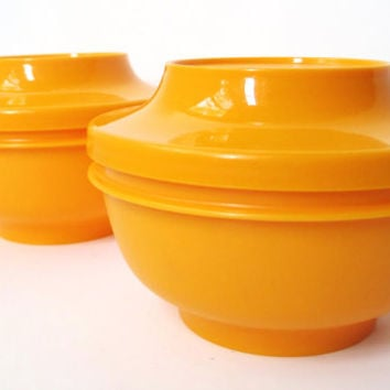 Vintage Tupperware Containers, Set of Two Yellow Serve N Seal Bowls and Lids