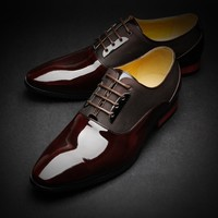 Tadi Tap business men leather shoes new dress-tie mens shoes genuine leather genuine patent leather tip - DinoDirect.com
