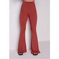 Missguided - Jersey Skinny Flare Pants Rust