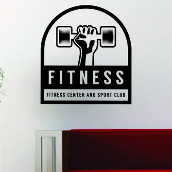 Fitness Center Sport Club Gym Quote Decal Sticker Wall Vinyl Art Words Decor Workout Weight Dumbbell Inspirational