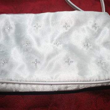 Vintage Satin Evening Bag,Silver Handbag