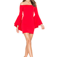 Susana Monaco Off Shoulder Dress in Perfect Red