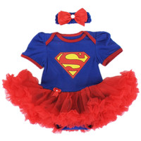Baby christmas clothes Romper tutu dress Cotton Cartoon Superman Toddler Festival Costumes For Newborns Infant clothing+headband