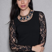 Style Shop Sheer Lace Open Back Contrast Top With Long Sleeves - Black