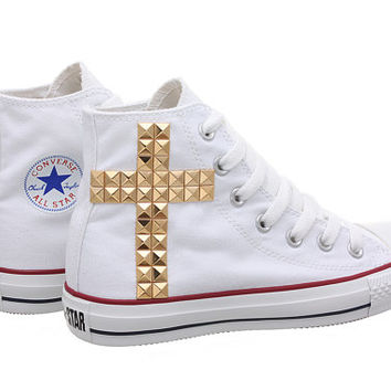 Studded Converse, Converse White High Top with Gold Cross Pattern Studs by CUSTOMDUO on ETSY