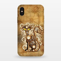 Steampunk Cat Vintage Style - StrongFit iPhone X Cases | ArtsCase
