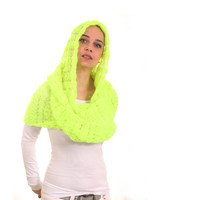 Yellow Neon Knitted Scarf, Hooded Hand Knit Scarf, Infinity Scarf with Hood by Solandia, trend fashion, urban, club craze, disco