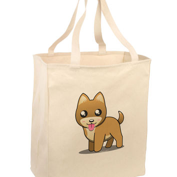 Kawaii Standing Puppy Large Grocery Tote Bag