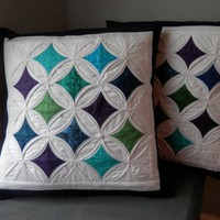 """Blue Cathedral Window Quilted Pillow Cover for 20"""" Pillow Insert"""