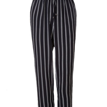 LE3NO Womens Lightweight Striped Straight Cropped Pants with Drawstring Waist