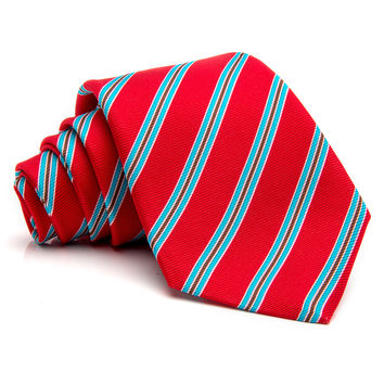 Kiton Red with Light Blue Stripe Tie