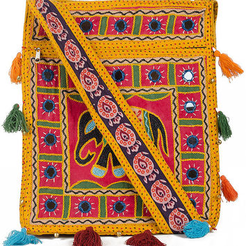 Zia - Yellow Sling Bag with Elephant Embroidery Pattern