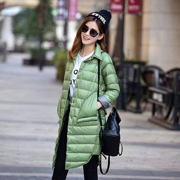 BONJEAN Winter Women's long winter parka down plus size Jacket coat ladies Autumn Solid Color Turn-down Collar Slim puffer Coat