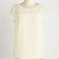 ModCloth Mid-length Short Sleeves Au Lait Today Top