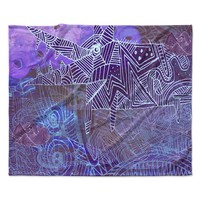 """Marianna Tankelevich """"Abstract With Wolf"""" Purple Illustration Fleece Throw Blanket"""
