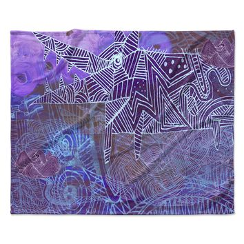 "Marianna Tankelevich ""Abstract With Wolf"" Purple Illustration Fleece Throw Blanket"