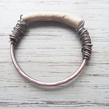 Antler Bangle Bracelet Unisex Bracelet Large Chunky Bangle Rustic Jewelry DanielleRoseBean Real Deer Antler Jewelry Wire Wrap Bangle