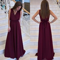 Sleeveless Elegant Casual Pleated Chiffon Maxi Dress