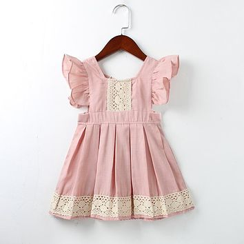 Baby Girls Dress Summer Beach Style ruffles lace Backless Dresses For Girls Vintage Toddler Girl Clothing 1-5Yrs