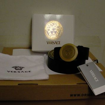 Versace leather belt women's Medusa black size 100 new with box made in Italy