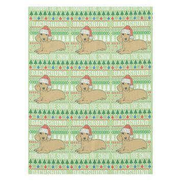 Dachshund Through The Snow Ugly Christmas Sweater Tablecloth