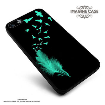 Feather to Birds Black Mint Stamp Out Tumblr Inspired Cute Cool case cover for iphone, ipod, ipad and galaxy series