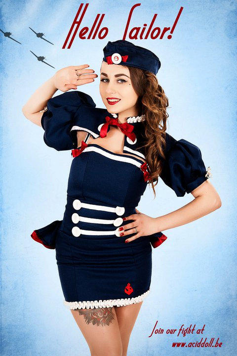 Marine pin up shrug bolero, high waist, military sailor