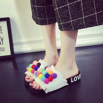 Cute Women Candy Color POM POM Canvas Fashion Slippers Summer Beach Sandals Shoe