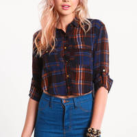 CROPPED CHIFFON PLAID SHIRT
