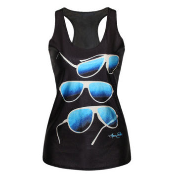 EAST KNITTING  2015 Unisex t shirts Black Casual Vests Sunglasses  Print  Personality Tank Tops F161