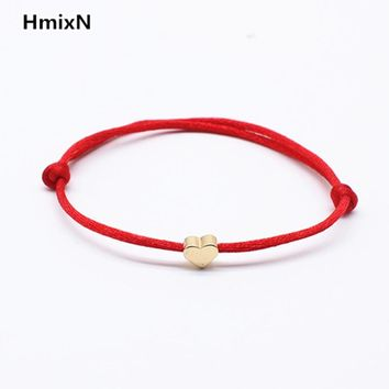 Lucky Golden Cross Heart Bracelet For Women Children Red String Adjustable Handmade Bracelet DIY Jewelry