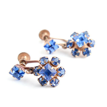 Vintage Dangly Blue Rhinestone Clip On Earrings -  Gold Tone Bridal Screw Back Costume Jewelry - Something Blue