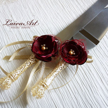 Wedding Cake Server Set & Knife Ivory Burgundy Cake Cutting Set Wedding Cake Knife Set Wedding Cake Servers Wedding Cake Cutter