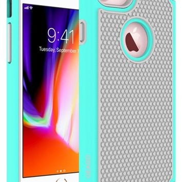 OEAGO iPhone 8 Case, iPhone 7 Case Cover [Drop Protection] [Shock Proof] Hybrid Dual Layer Rubber Plastic Impact Defender Rugged Slim Hard Case Cover Shell for Apple iPhone 8 / iPhone 7 - Mint