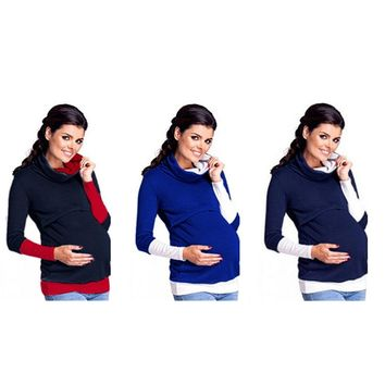 easy breast feeding maternity pregnant autumn mother tops jumper women mommy nursing hoodies style pullover warm hooded clothes