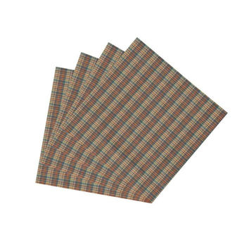 Multi Brown & Tan Plaid Napkin Set of 4