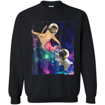 Cute Space Cat vs Pug  Galaxy Epic Fight In Outer Space Printed Crewneck Pullover Sweatshirt