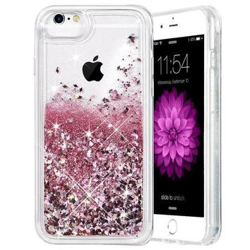 DCCKRQ5 iPhone 6/6S/7/8 Case, Caka iPhone 6S Glitter Case [With Tempered Glass Screen Protector] Bling Flowing Floating Luxury Glitter Sparkle TPU Bumper Liquid Case for iPhone 6/6S/7/8 (4.7') - (Rose Gold)