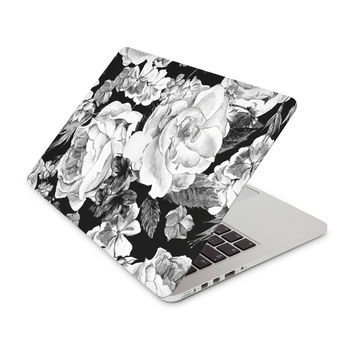 Black and White Color Scheme With Painted Floral Arrangement Skin for the Apple MacBook