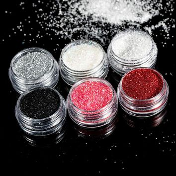 TOMTOSH Holographic Nail Glitter Silver/Black Nail Glitter Laser Paillettes Nail Art Dust Powder Manicure Holographic Nail Sequi