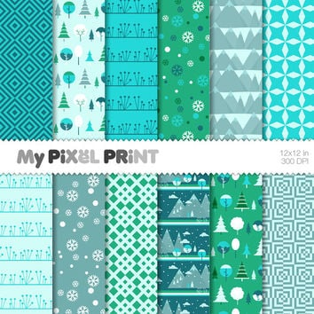 Frozen - Inspired by Disney Movie - Snowflakes Winter Wonderland Elsa Anna Christmas Mountains Disney Princess - Digital Scrapbooking Paper