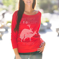 Merry F'in Xmas Humpin Reindeer Ugly Christmas Sweater